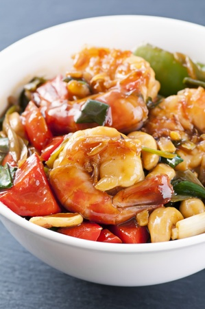 Prawns with vegetables photo