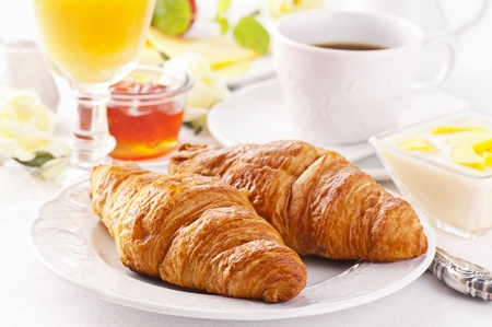 puff pastry: Breakfast with fresh croissants and marmalade