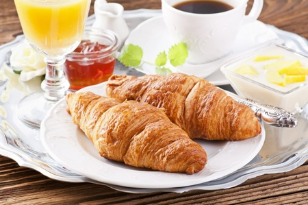 caffee: Breakfast with croissants and caffee Stock Photo