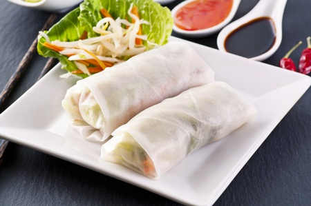 goi: spring rolls on a white plate