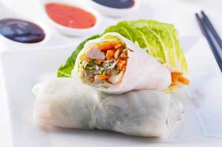 spring rolls with vegetable and chicken photo