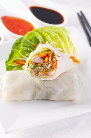 vermicelli: spring rolls with vegetable and chicken Stock Photo