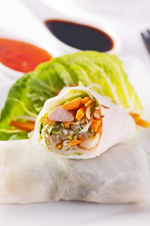 Spring rolls with chicken and vegetables photo