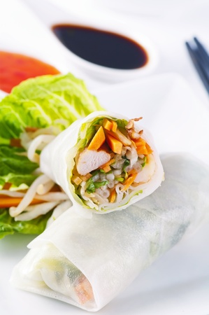 spring rolls with vegetables and chicken Stock Photo - 11304548