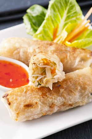 spring rolls stuffed with vegetables photo