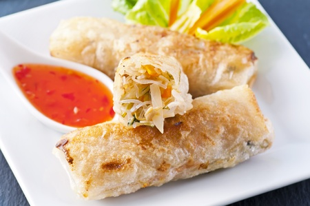 spring rolls with sweet sour souce photo