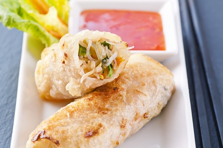 spring rolls with vegetables and glas noodles photo