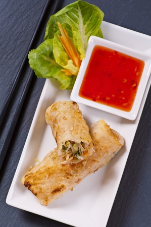 spring rolls with vegetables and sweet-sour sauce Stock Photo - 11304599