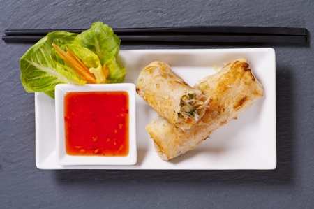 spring rolls stuffed with vegetables and glass noodle photo