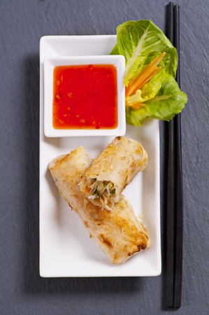 spring rolls with sweet-sour sauce Stock Photo - 11304597