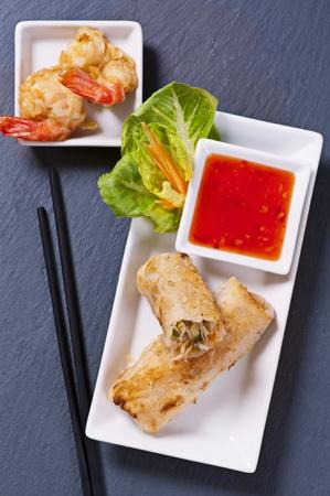 bing: Spring rolls with tempura and sauce Stock Photo