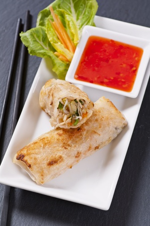 cha: spring rolls with sweet-sour sauce
