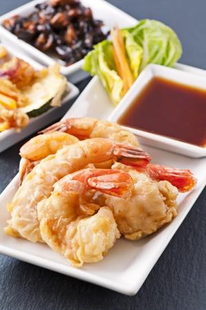 Prawn tempura with fish sauce photo