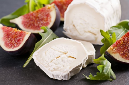 roquette: Goat cheese with rucola and fig Stock Photo