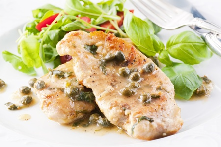 fillet steak: Chicken Piccata with capern and white wine sauce