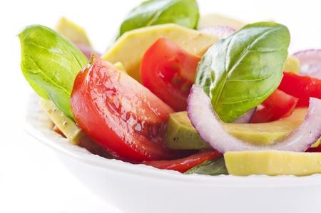 salad plate: salad with tomato and avocado Stock Photo