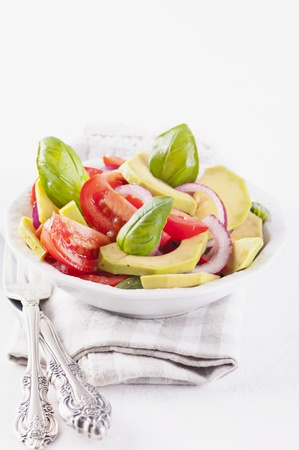 cuke: fresh vegetable salad with avocado Stock Photo