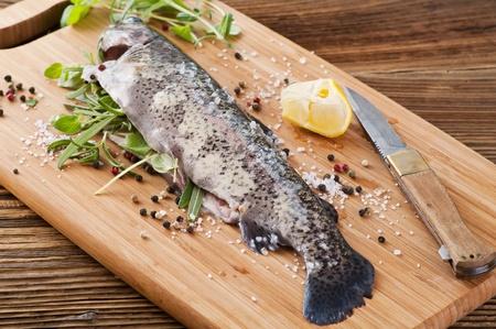 salmo trutta: rainbow trout stuffed with fresh herbs