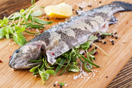 Rainbow trout stuffed with the fresh herbs  photo