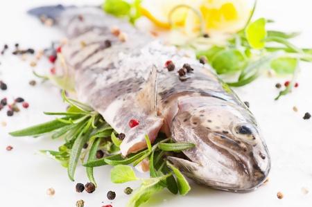 salmo trutta: rainbow trout stuffed with the herbs