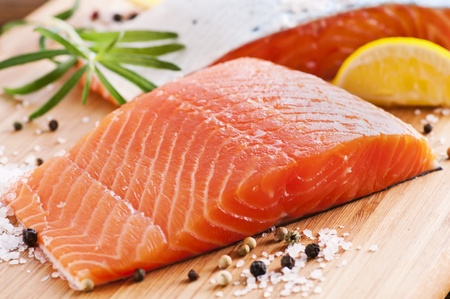 foodie: Fresh salmon on a wooden board