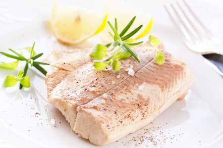 Trout fillet with fresh herbs photo