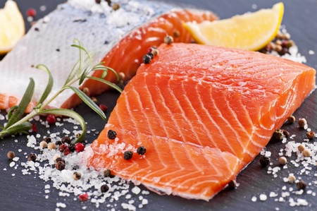 Fresh salmon with salt and spices Stock Photo