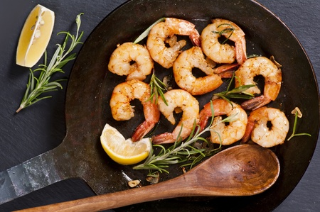 gambas: fried gambas with fresh rosmarin