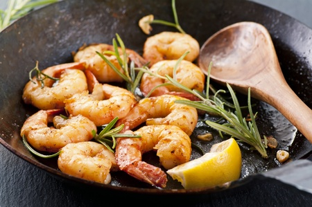 gambas: Butter prawns with fresh rosmarin and garlic