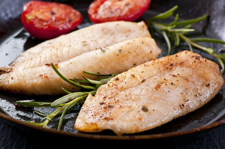 catfish: Fish fillet with fresh herbs Stock Photo