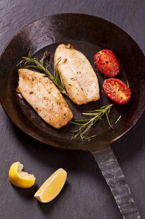 rosmarin: Firsh steaks fried with fresh herbs