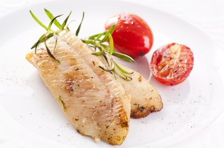 pangasius: fish fillet fried with fresh herbs