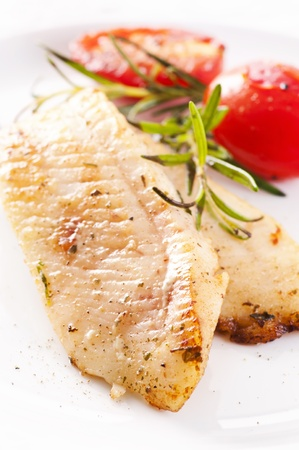 plaice: fish fillet with fresh herbs Stock Photo