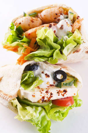 PIta stuffed with Feta and prawns photo