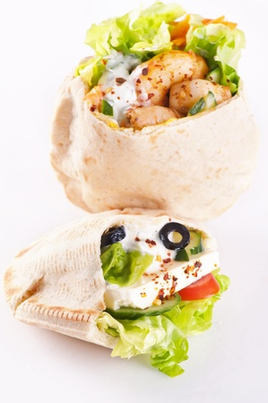 PIta stuffed with Feta and prawn photo