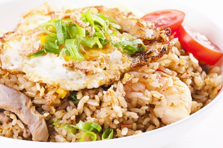 Nasi Goreng with fried egg and chicken photo