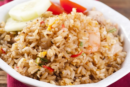 chicken rice: Nasi Goreng with shrimps and Egg Stock Photo