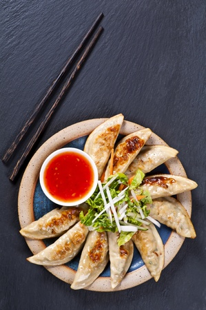 wor: Fried Gyoza with salad and dip Stock Photo
