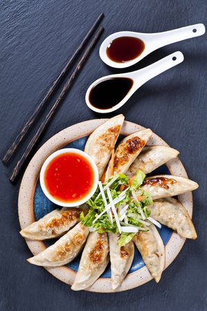 gyoza: Fried Guotie with dipping sauces