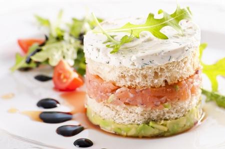 tartare: Salmon Tartare with avocado cream