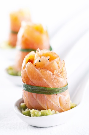 Snack bar with salmon rolls photo
