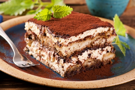 Tiramisu on the plate Stock Photo