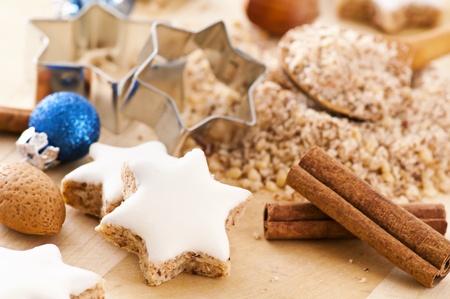 backing: Zimtstern christmas cookies Stock Photo