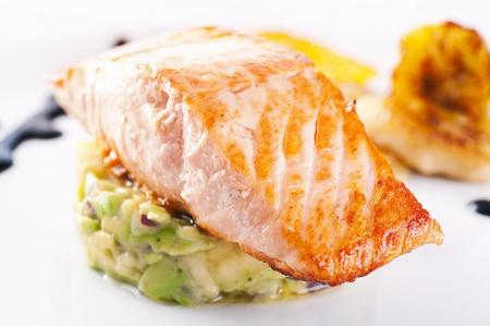 steak tartare: Salmon steak with avocado tatar  Stock Photo