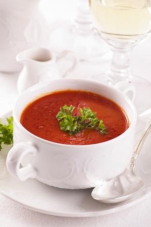 tomato soup: tomato soup with fresh parsley Stock Photo