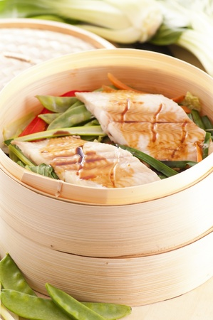 Fish and vegetables steamed  photo