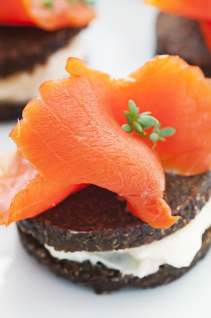 antipasto: Antipasto with wild salmon as close up Stock Photo