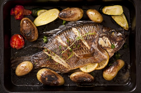 Tilapia roasted with vegetable Stock Photo - 12883423