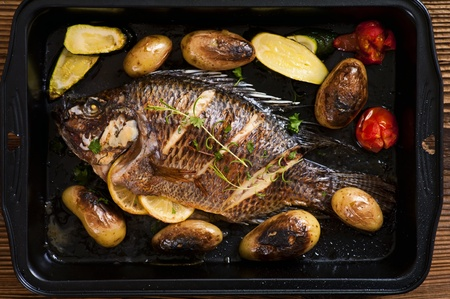 Tilapia roasted with vegetable Stock Photo - 12883409