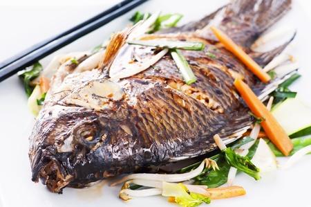 tilapia fried asian style photo